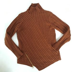 Burnt umber cable knit asymmetrical zip sweater